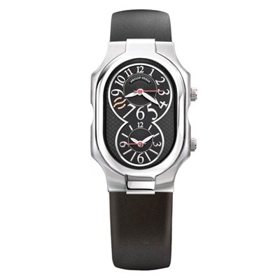 Philip Stein Signature Collection 32mm Large Dual Time Zone Black Rubber Watch with Black Dial
