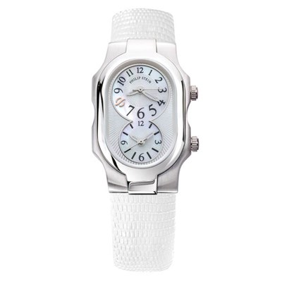 Philip Stein Signature Collection Small, Dual Time Zone Watch with White Leather Strap