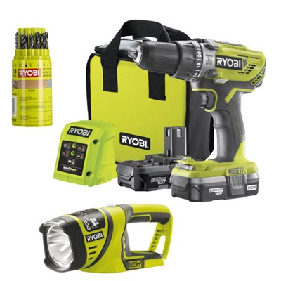 Ryobi 18v One+ Drill, 2x 1.3Ah Batteries, Charger, Mixed Drills Bit and Torch