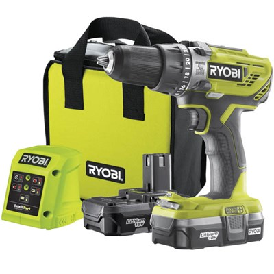 Ryobi 18v One+ Percussion Drill R18PD3-213S, 2 x1.3Ah Batteries, Charger, Carry Case