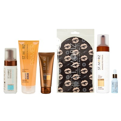 St Moriz Advanced Pro 6 - Primer, Mousse, facial Serum, Remover, Mitt, Make-Up