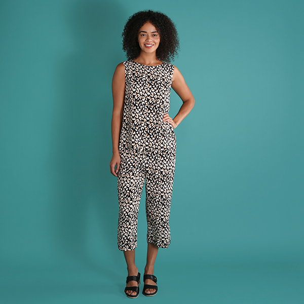 Viscose Print Crop Trouser Black/Stone Animal