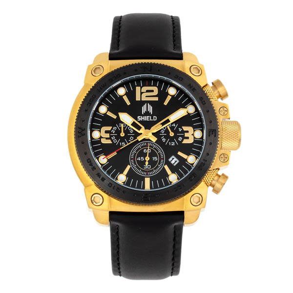 Shield Gents Tesei Chronograph Divers Watch with Genuine Leather Strap Black/Gold