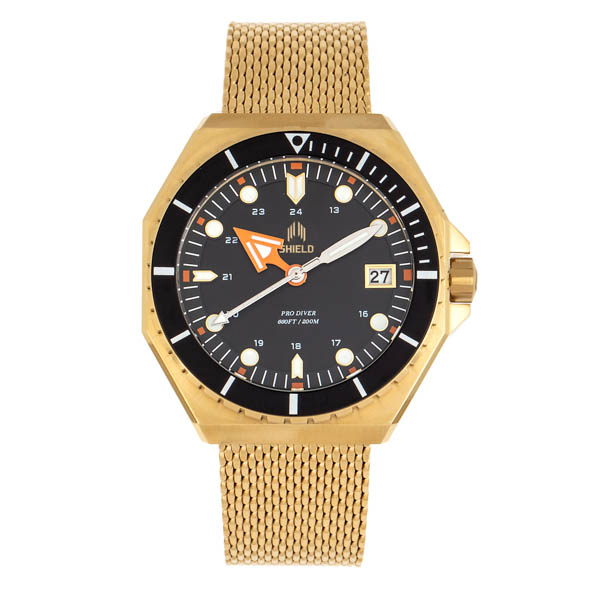 Shield Gents Marius Divers Watch with Milanese Bracelet Gold