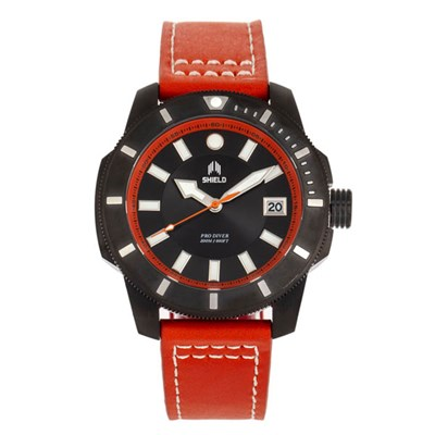 Shield Gents Shaw Divers Watch with Genuine Leather Strap