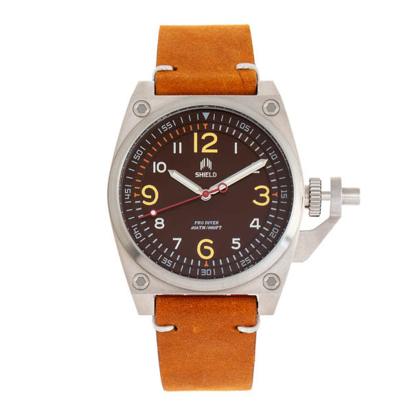 Shield Gents Pascal Divers Watch with Genuine Leather Strap Brown