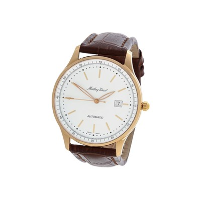 Mathey Tissot Gent's Swiss Solid 18ct Rose Gold Case Watch with ETA 2824 Movement with Genuine Leather Strap