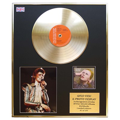 David Bowie Hunky Dory Framed CD on Gold Disc Display - Limited Edition of 100