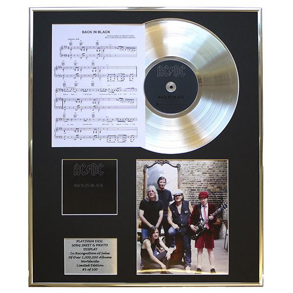 AC/DC Back in Black Framed CD on Platinum Disc Display - Limited Edition of 100 No Colour