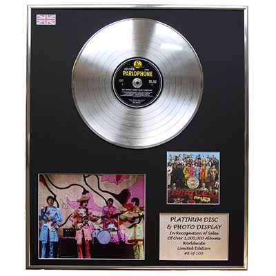 Beatles Sgt Peppers Framed CD on Platinum Disc Display - Limited Edition of 100
