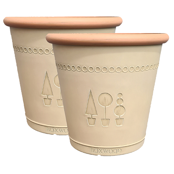 Pair of Boxwood Acorn 33cm Warm Beige Planters No Colour