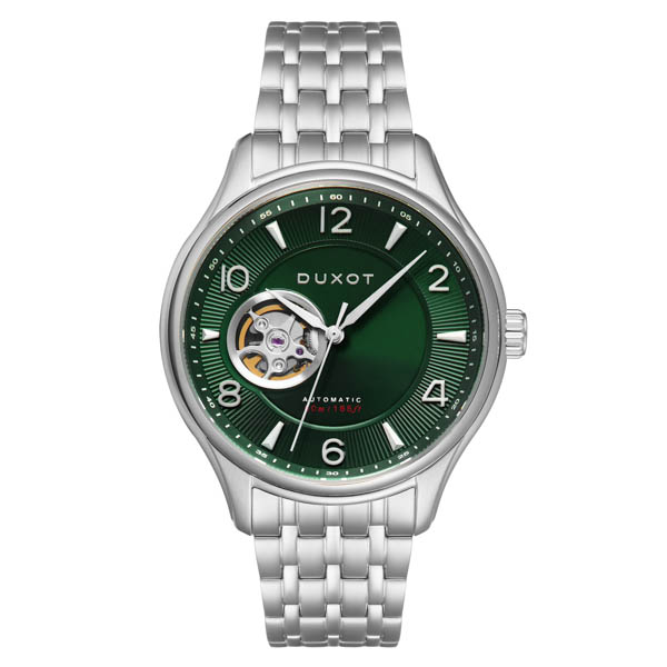 Duxot Gent's Patrios Automatic Open Heart Watch with Stainless Steel Bracelet Green