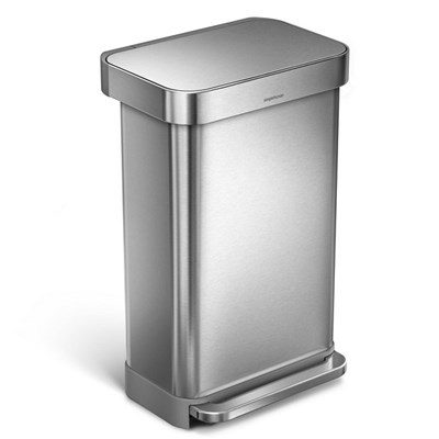 Simple Human Rectangular Pedal Bin with Liner Pocket, 45L Single Compartment, Stainless Steel
