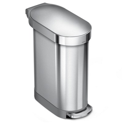 simplehuman CW2067 Slim Pedal Bin 45L Single Compartment, Stainless Steel