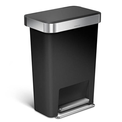simplehuman CW2053 Rectangular Pedal Bin with Liner Pocket, 45L Single Compartment, Black Plastic