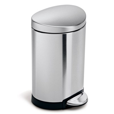 Simple Human Semi-Round Pedal Bin 6L Single Compartment, Stainless Steel