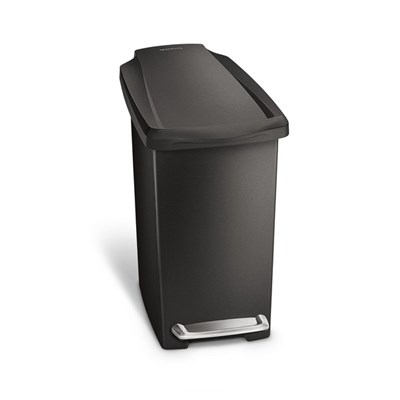 simplehuman CW1329 Slim Pedal Bin 10L Single Compartment, Black Plastic