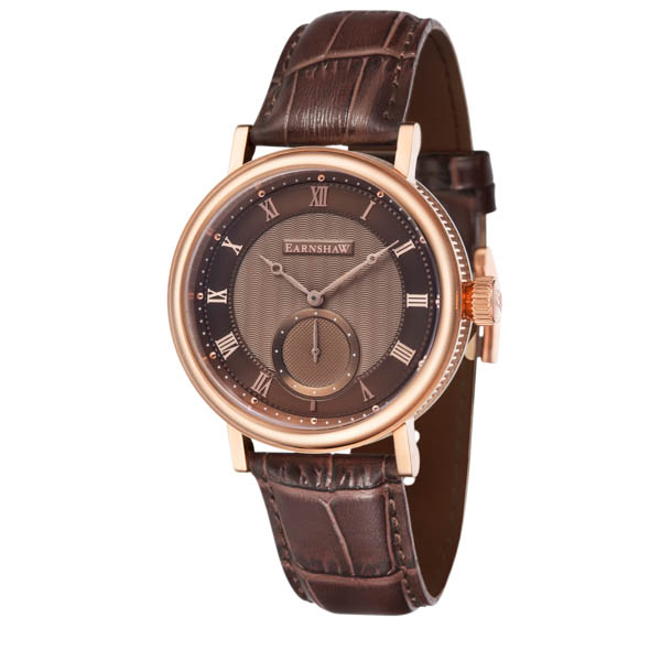 Thomas Earnshaw Gents' Beaufort IP Multifunction Watch with Genuine Leather Strap Brown