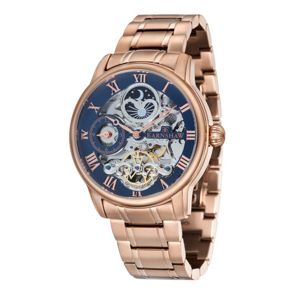 Thomas Earnshaw Gents' Longitude Skeleton Automatic Watch with Stainless Steel Bracelet Rose Gold