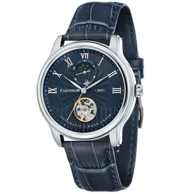 Thomas Earnshaw Gents' Longitude Moonphase Open Heart Watch with Genuine Leather Strap and Gift