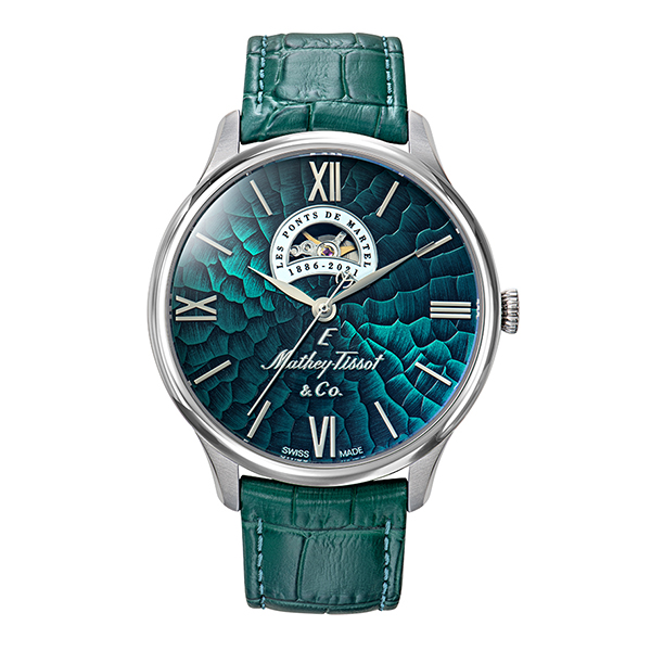 Mathey Tissot Gent's Ltd Ed Swiss Automatic Open Heart Snake Dial Watch with Genuine Leather Strap and Gift Green