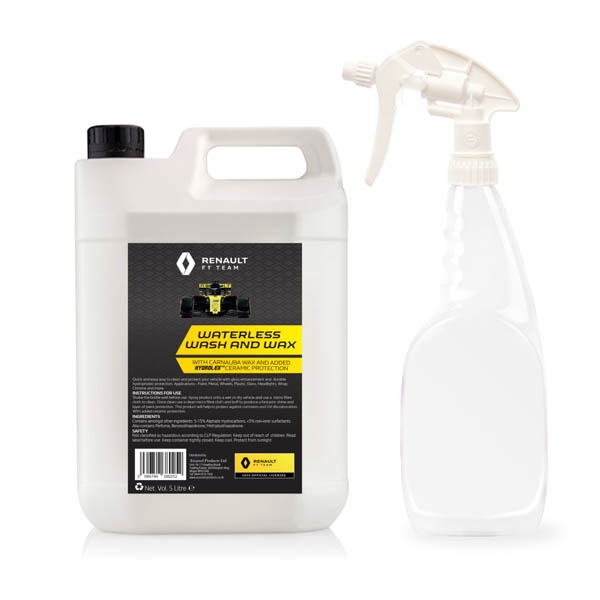 Renault F1 Waterless Wash and Wax 5L Jerry Can plus 750ml bottle and sprayer No Colour