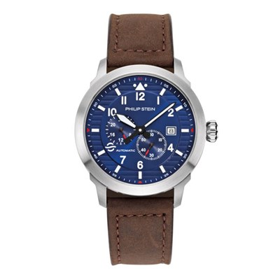 Philip Stein Skyfinder Automatic Watch - Brushed Finished Steel Case, Blue Dial, Quartz Movement
