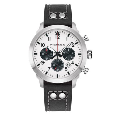 Philip Stein Skyfinder Chrono Collection - Round Brushed Finished Steel, White Dial, Quartz Movement