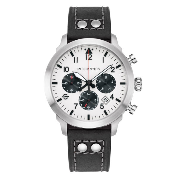 Philip Stein Skyfinder Chrono Collection - Round Brushed Finished Steel, White Dial, Quartz Movement No Colour