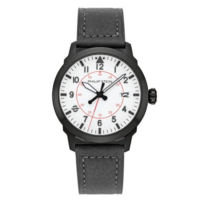 Philip Stein Skyfinder Collection - Round Brushed Finished Black PVD Plated Case, White Dial, Quartz Movement