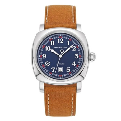 Philip Stein Harmonic Automatic Watch - Square Rounded Steel Case, Blue face, Suede Strap
