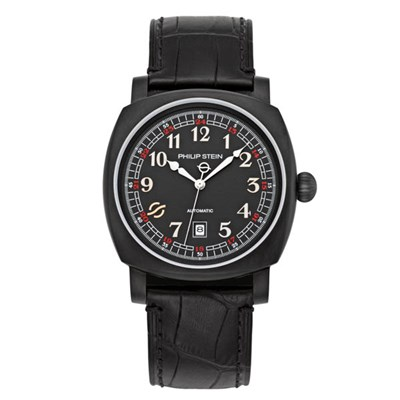 Philip Stein Harmonic Automatic Collection - Square Rounded Steel Case, Black PVD Face, Alligator Strap