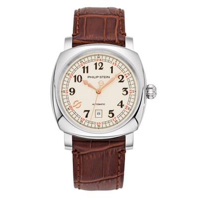 Philip Stein Harmonic Automatic Watch with Square Rounded Steel Case and Calf Stitched Alligator Strap