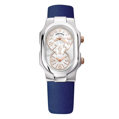 Philip Stein Signature Ladies Round Case with Silver and Gold Face with Quartz Movement and Blue Calf Strap