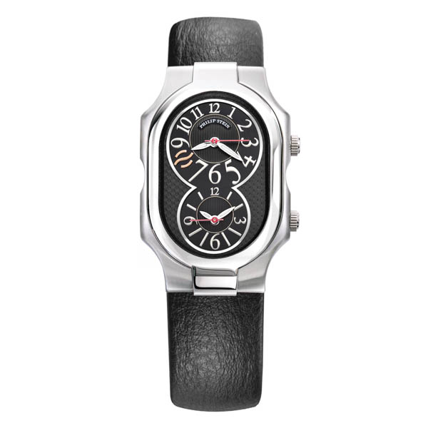 Philip Stein Signature Round Steel case with Black Dial and Black Calf Leather Strap No Colour
