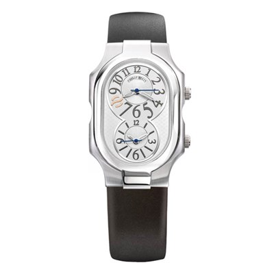 Philip Stein Signature Round Case with Silver Face and Black Rubber Strap