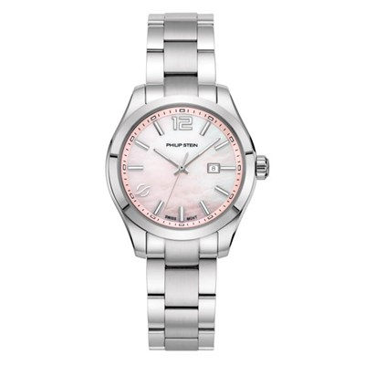 Philip Stein Traveller Ladies Stainless Steel Case and Strap, Sapphire Crystal with Pink Mother of Pearl Dial