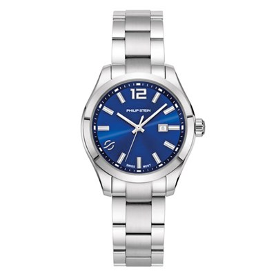 Philip Stein Traveller Ladies Steel Round Case with Sapphire Crystal and Blue Face Steel Strap