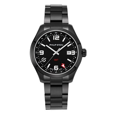 Philip Stein Traveller Gents Steel Round Case with Sapphire Crystal and Black Steel Strap