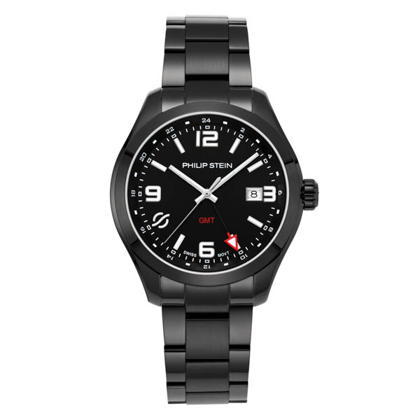 Philip Stein Traveller Gents Steel Round Case with Sapphire Crystal and Black Steel Strap No Colour