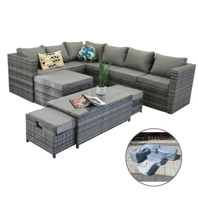 Vancouver 9 Seater Corner Rattan Garden Set in Grey with Rain Cover