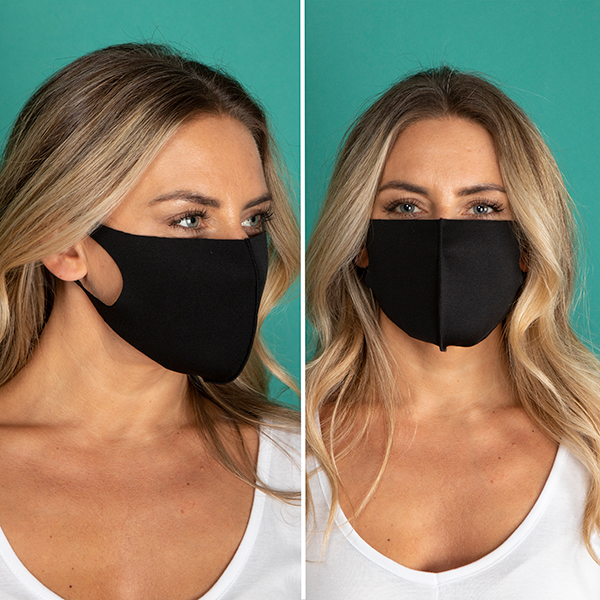 Pack of 2 Plain Face Coverings Black/ Black