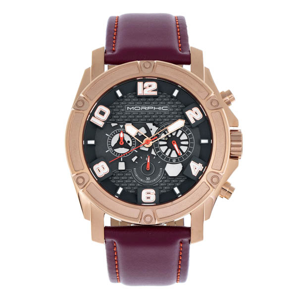 Morphic Gents M73 Series Watch on Genuine Leather Strap Maroon