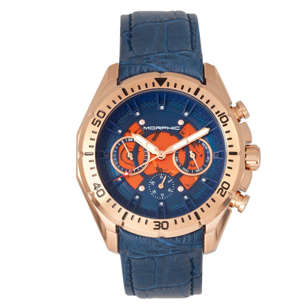 Morphic Gents M66 Series on Genuine Leather Strap Blue