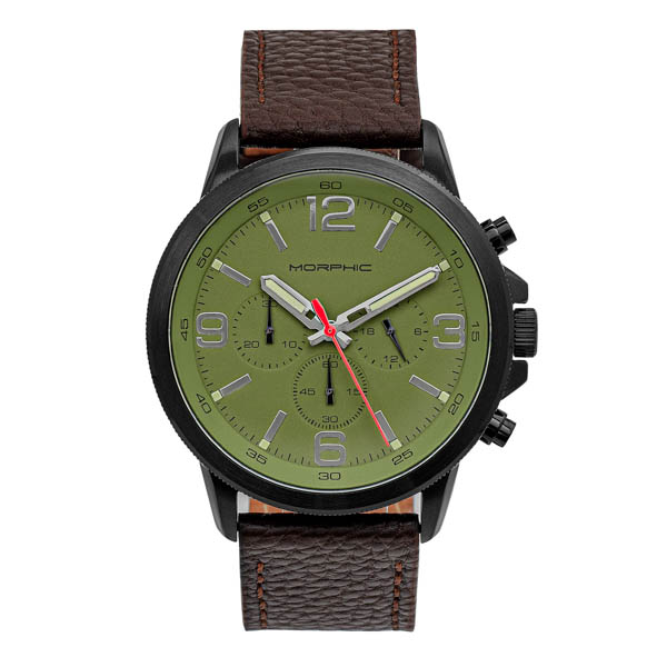 Morphic Gents M86 Series Watch on Genuine Leather Strap Green