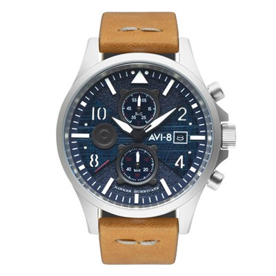 Avi-8 Gents Hawker Hurricane Bulman Chronograph Watch with Genuine Leather Strap