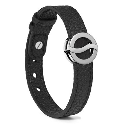 Philip Stein Horizon Day Bracelet Large on Black Leather Strap with Stainless Steel - Matte Icon