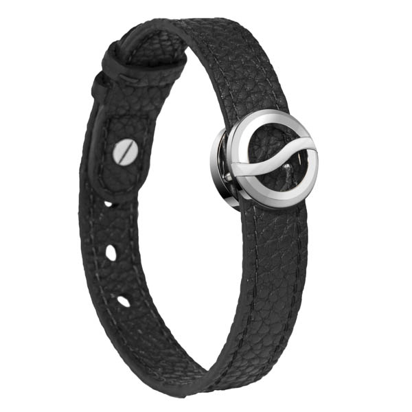 Horizon Bracelet Small on Black Leather Strap with Stainless Steel - Matte Icon No Colour