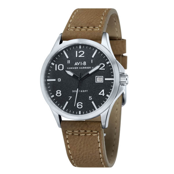 Avi-8 Gents Hawker Hurricane Watch with Genuine Leather Strap Black