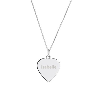 Silver Personalised Heart Necklace